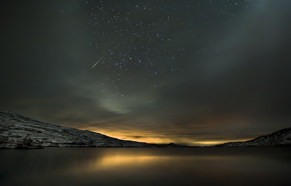 A piece of fine art art photography titled Meteor Night by Tommy Eliassen