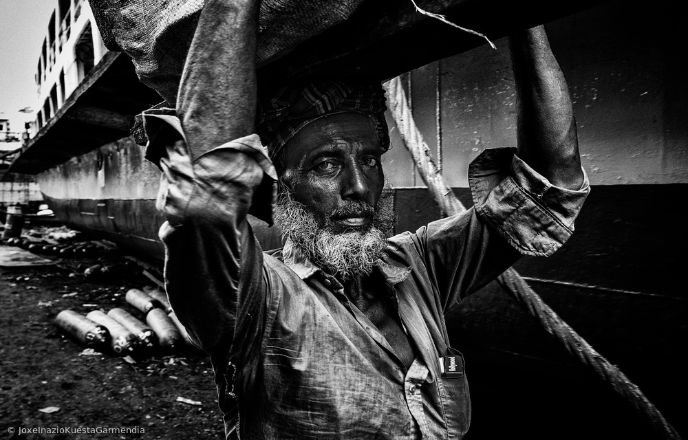 Worker of a shipyard in Bangladesh.