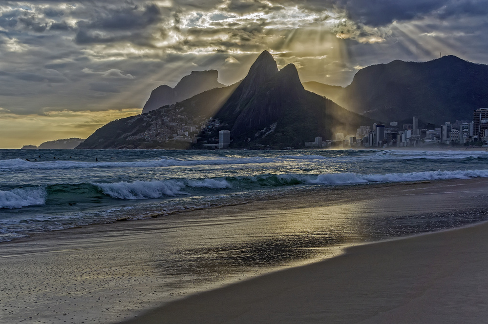 A piece of fine art art photography titled Fingers of God Over the Two Brothers Hill, Ipanema, Rio by Daniel Schwabe