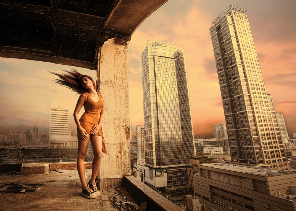 A piece of fine art art photography titled From the 16th Floor by Sebastian Kisworo