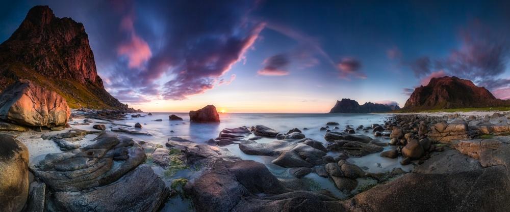 A piece of fine art art photography titled Utakleiv Sunset by Dr. Nicholas Roemmelt