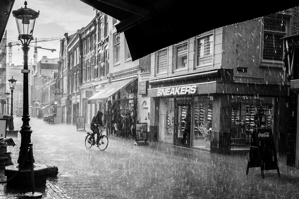 Heavy rain in Utrecht