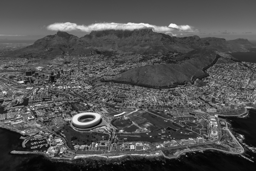 A piece of fine art art photography titled Cape Town - Green Point Stadium by Michael Jurek