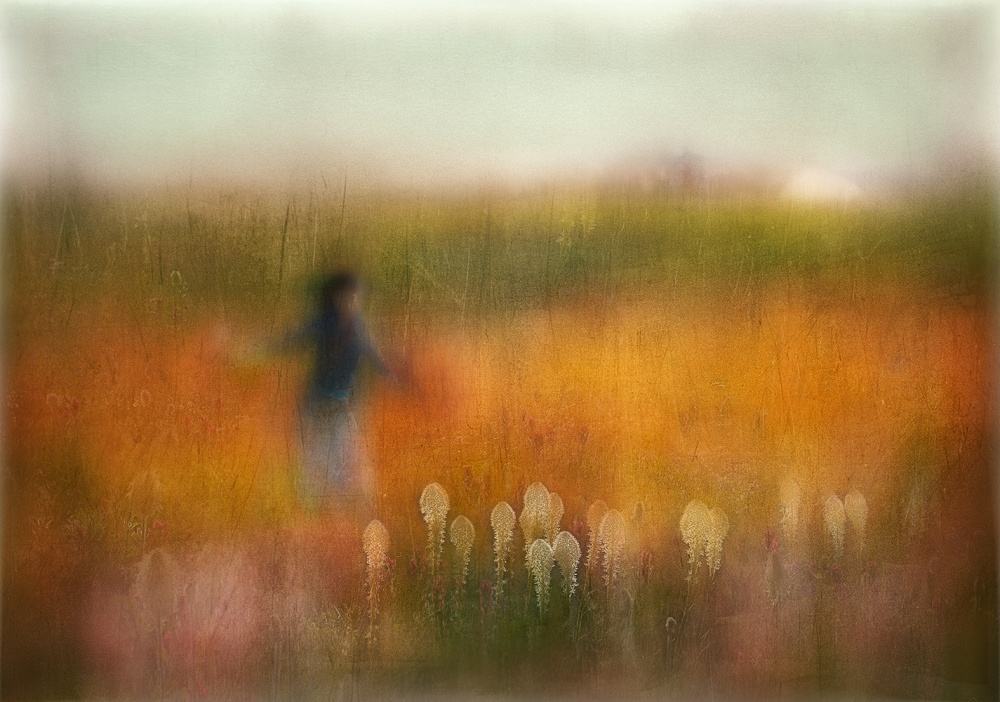 A piece of fine art art photography titled A Girl and Bear Grass by Shenshen Dou