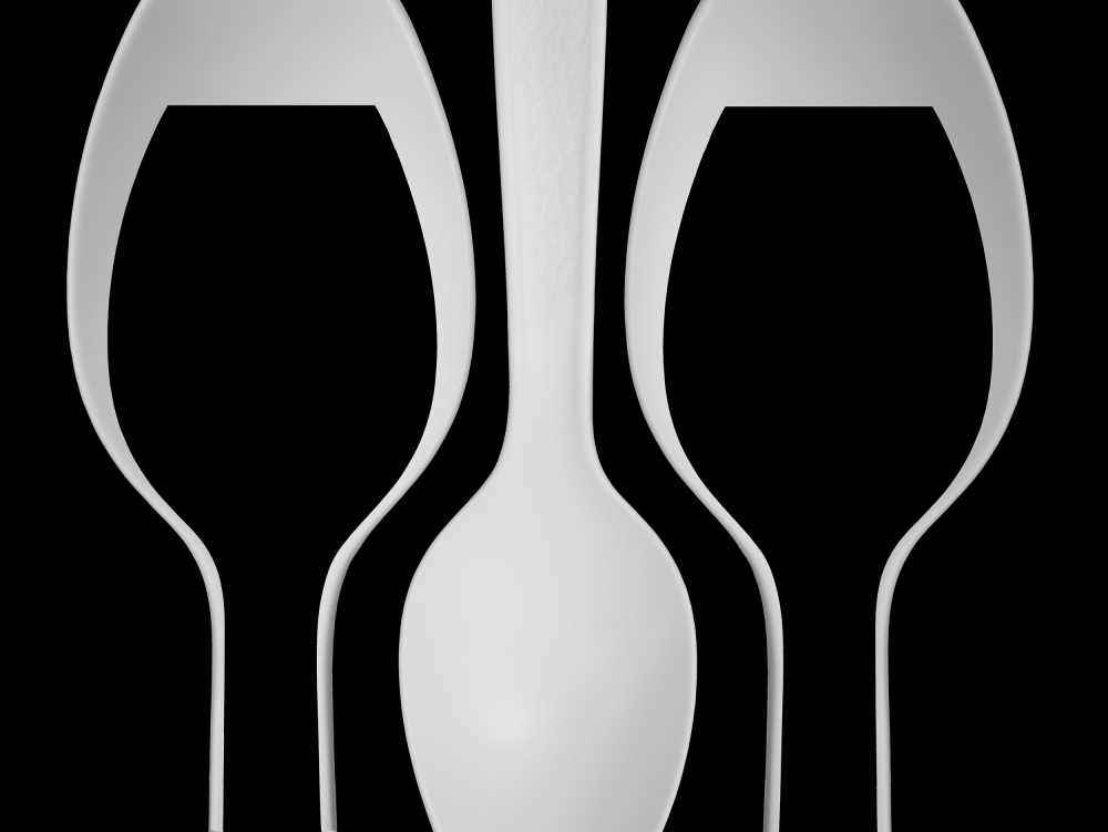 A piece of fine art art photography titled Spoons Abstract:  Wine Glasses by Jacqueline Hammer