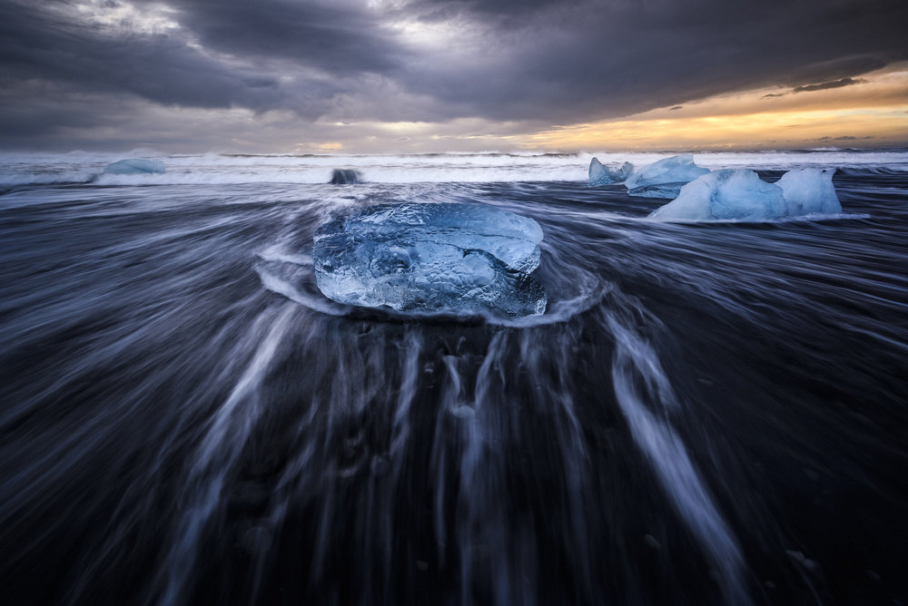 A piece of fine art art photography titled Blue Ices II by Jorge Ruiz Dueso