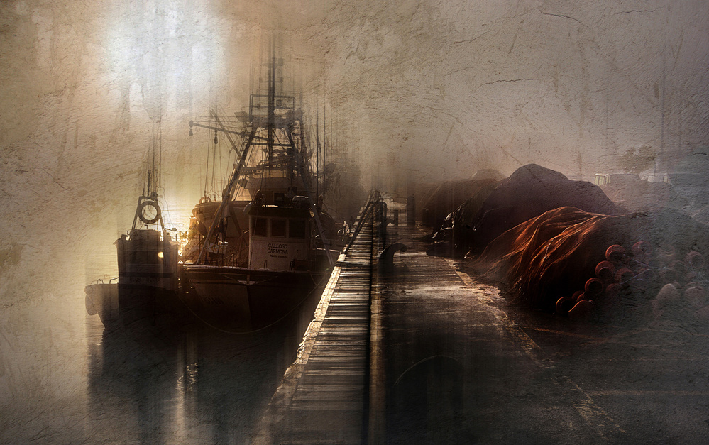 View this piece of fine art photography titled Boats in the fog by Maryamhasaniborchaloui