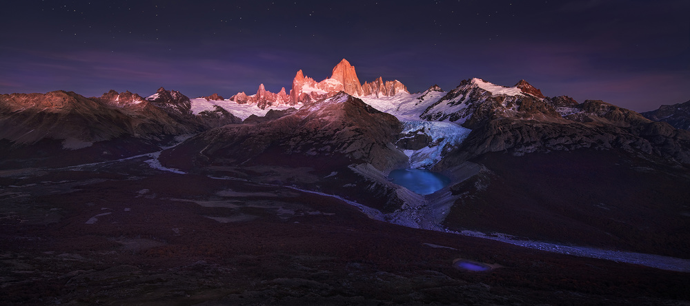 A piece of fine art art photography titled Patagonia Moonlight by Yan Zhang