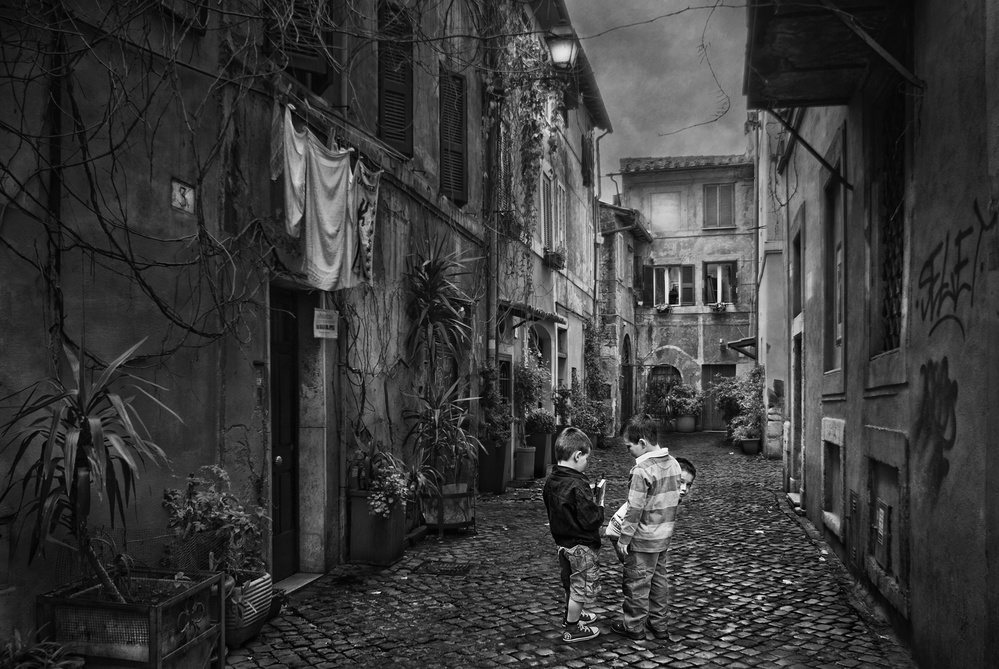A piece of fine art art photography titled Children of the Trastevere by Jose C. Lobato