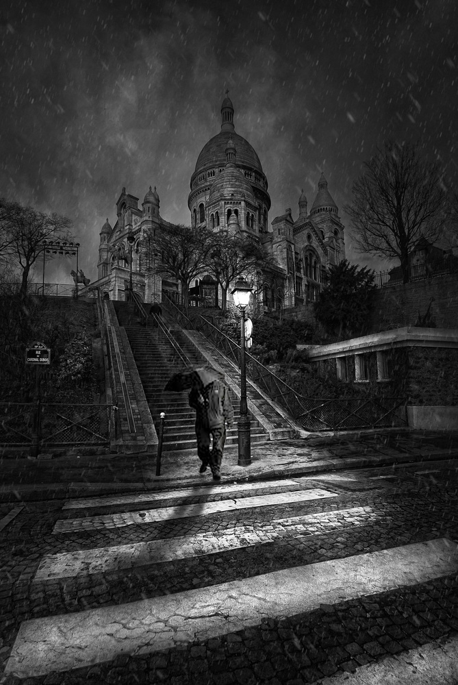 View this piece of fine art photography titled Winter in the Sacre Coeur by Jef Flour