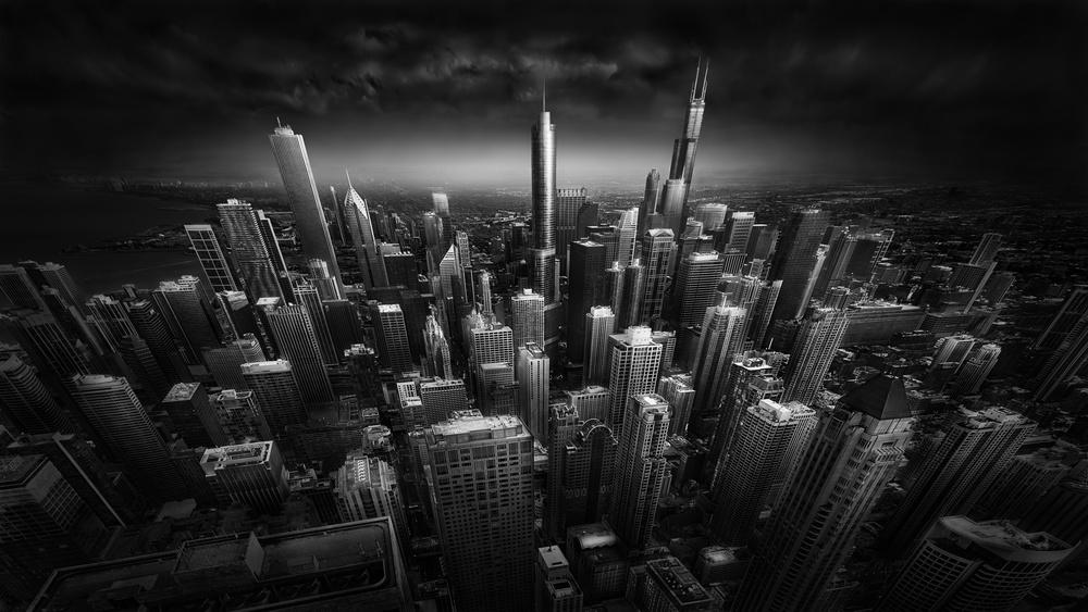 A piece of fine art art photography titled Rooftop Stories - Chicago Skyline by Julia Anna Gospodarou