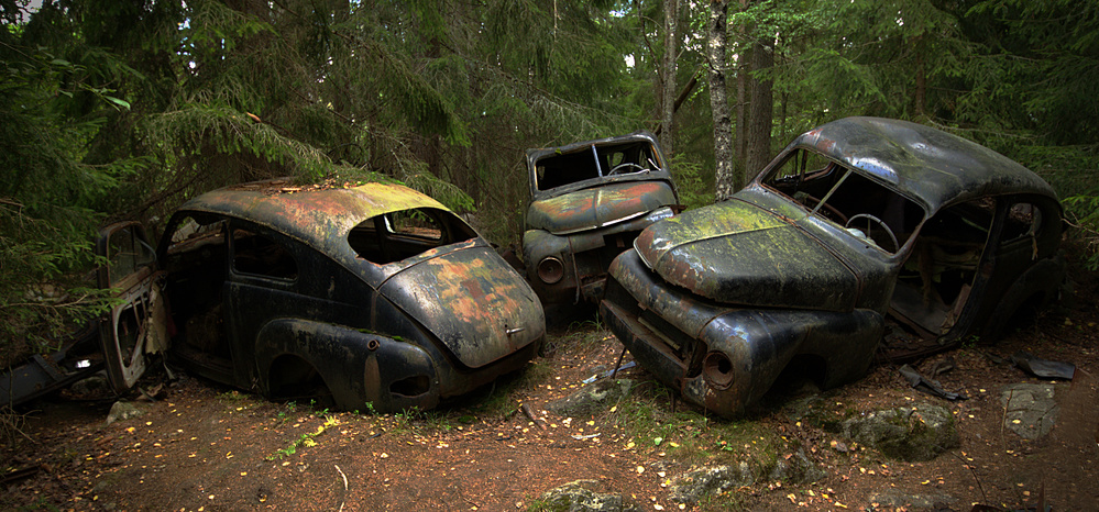 A piece of fine art art photography titled Car Cemetery In the Woods by Steen Lund Hansen