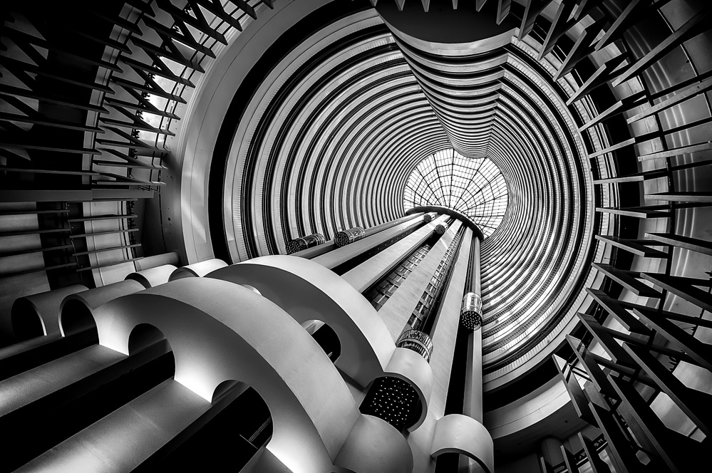A piece of fine art art photography titled Elevators by Ute Scherhag