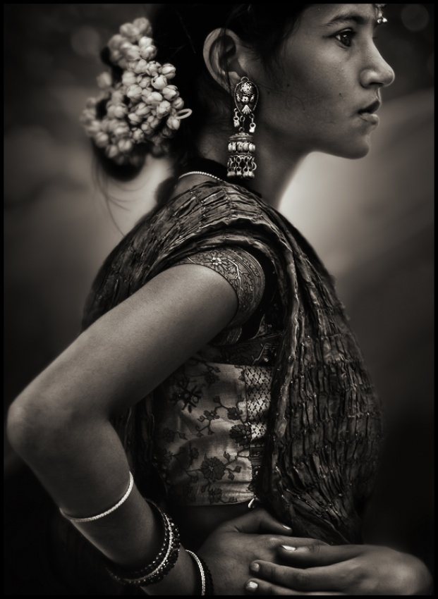 A piece of fine art art photography titled Girl Wearing Sari by Richard Toro