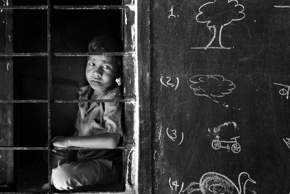 A piece of fine art art photography titled School Boy BW by Sajedah Al-Asfoor