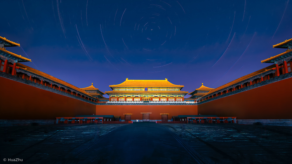 Night view of the Meridian Gate of Forbidden City