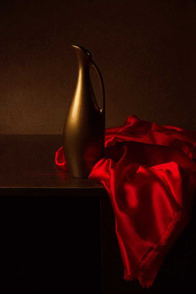 Still life with red cloth