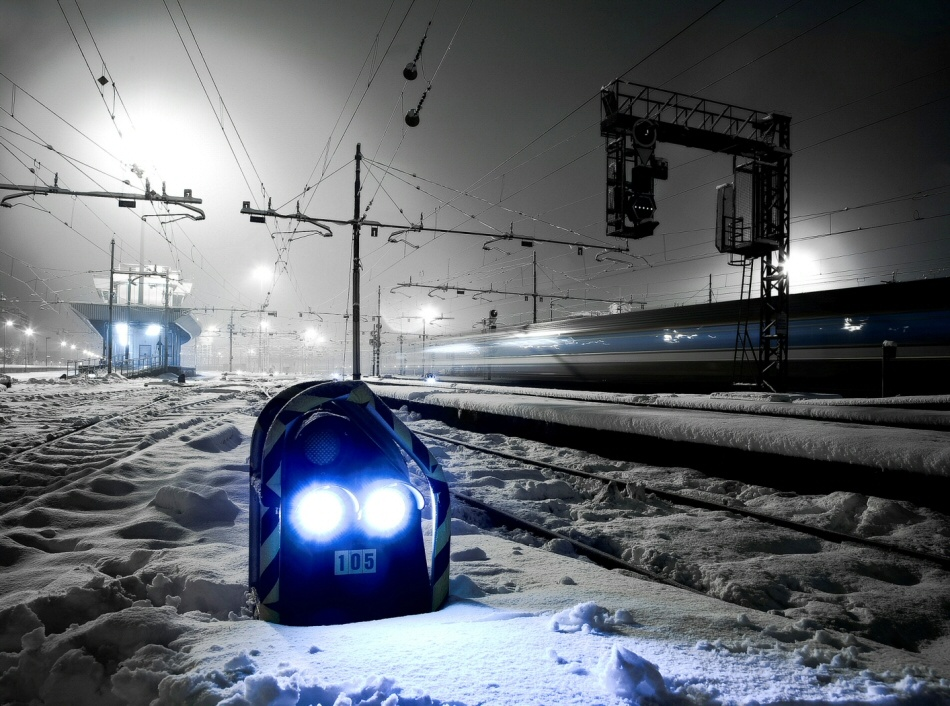 A piece of fine art art photography titled Night at the Railroad Station by Antonello Crippa