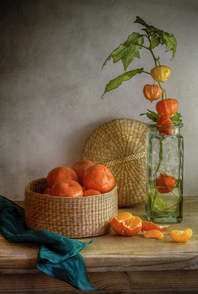 A piece of fine art art photography titled Still Life With Clementines by Mandy Disher
