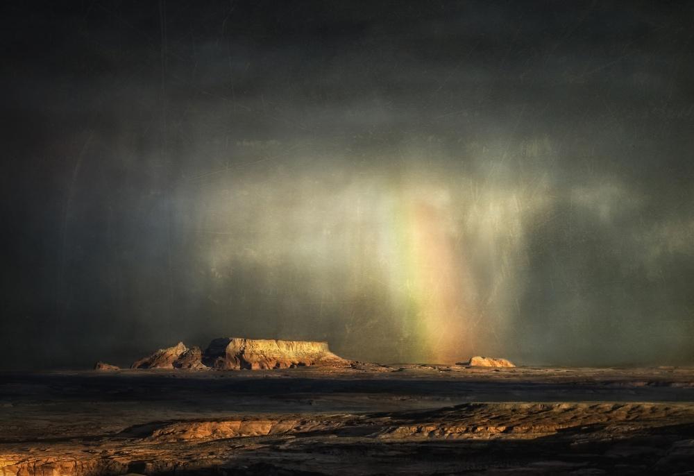 A piece of fine art art photography titled Desert Rain by Robert Thomson †