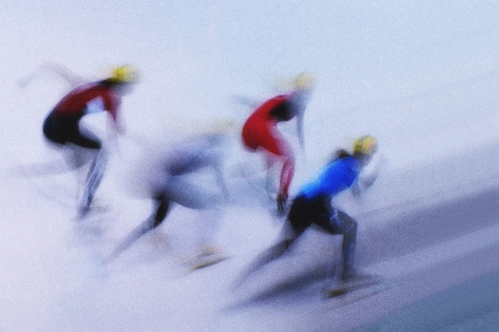 A piece of fine art art photography titled Speed Skating 1 by Zoran Milutinovic