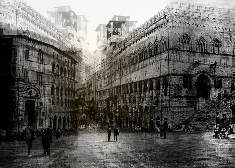 A piece of fine art art photography titled Walking In the Square by Carmine Chiriaco