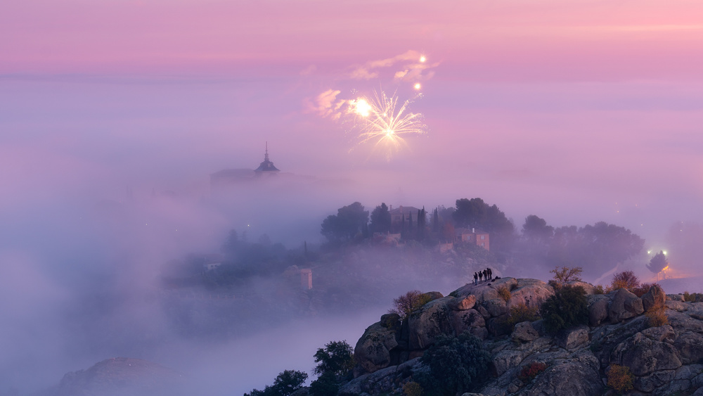 A piece of fine art art photography titled Fireworks In the Fog by Iván Ferrero
