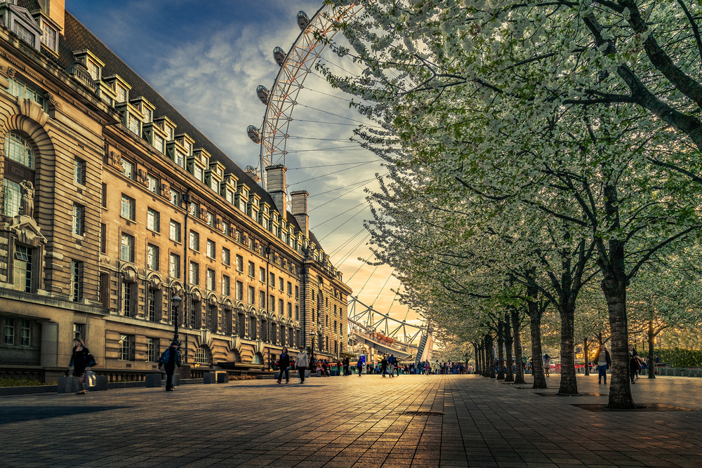 A piece of fine art art photography titled Last Daylights at the London Eye by Nader El Assy