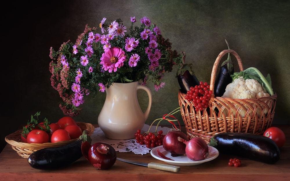 A piece of fine art art photography titled Still Life With a Bouquet and Vegetables by Tatyana Skorokhod (Татьяна Скороход)