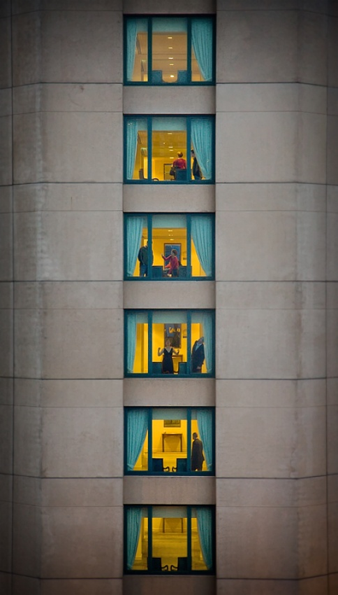 A piece of fine art art photography titled Six Storeys-four Stories by Adrian Donoghue