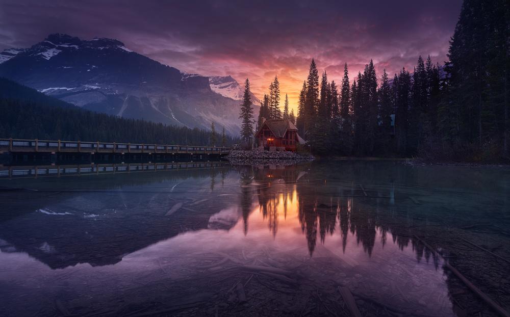 A piece of fine art art photography titled Lake House Sunrise by Jesús M. García