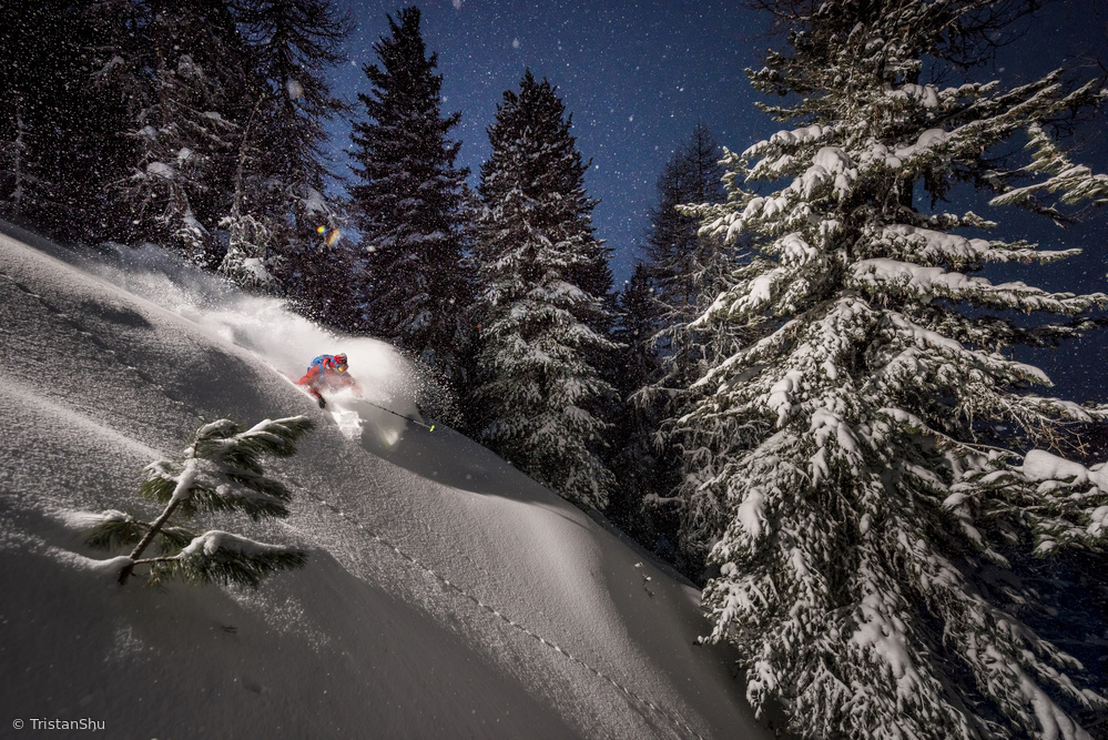 Night Powder turns with Adrien Coirier