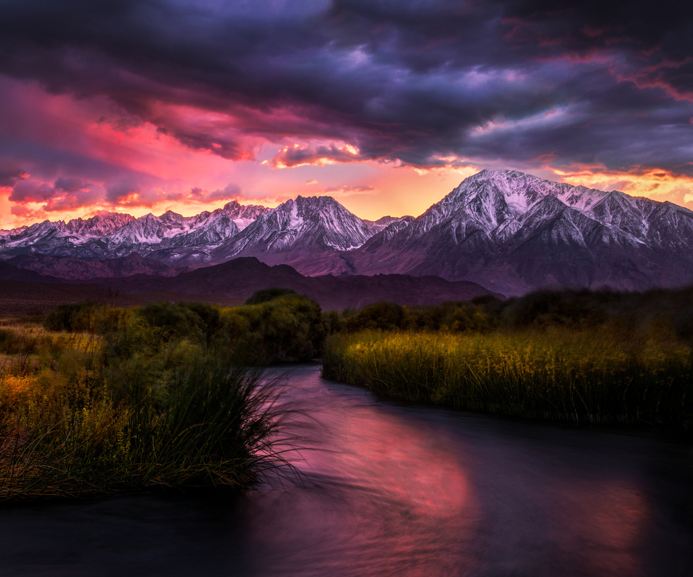 A piece of fine art art photography titled Owens River Alpenglow by Doug Solis