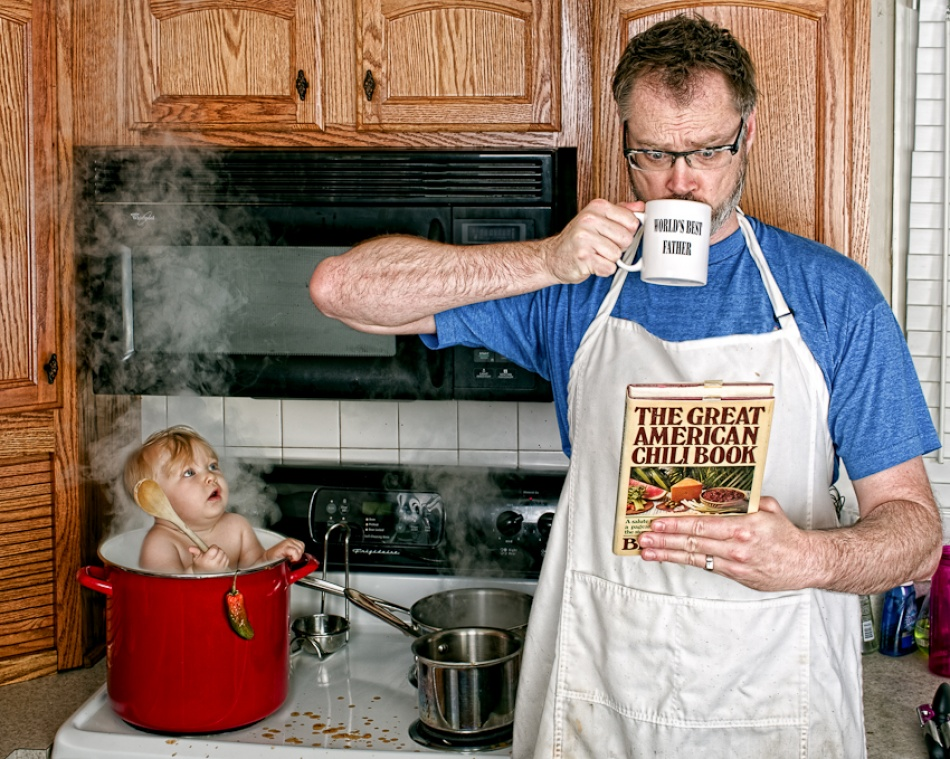 A piece of fine art art photography titled Worlds Best Father: Making Chili by Dave Engledow
