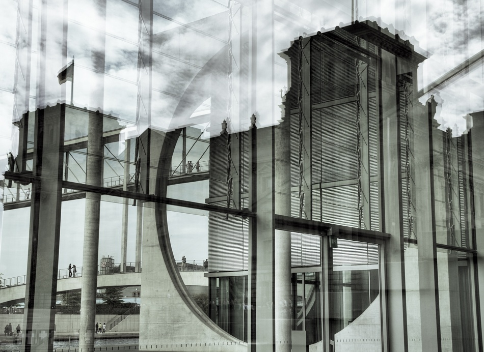 A piece of fine art art photography titled Reflected Parliament by Dirk Eidner