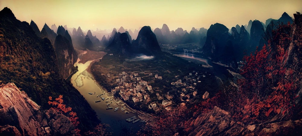 A piece of fine art art photography titled The Karst Mountains of Guangxi by Clemens Geiger