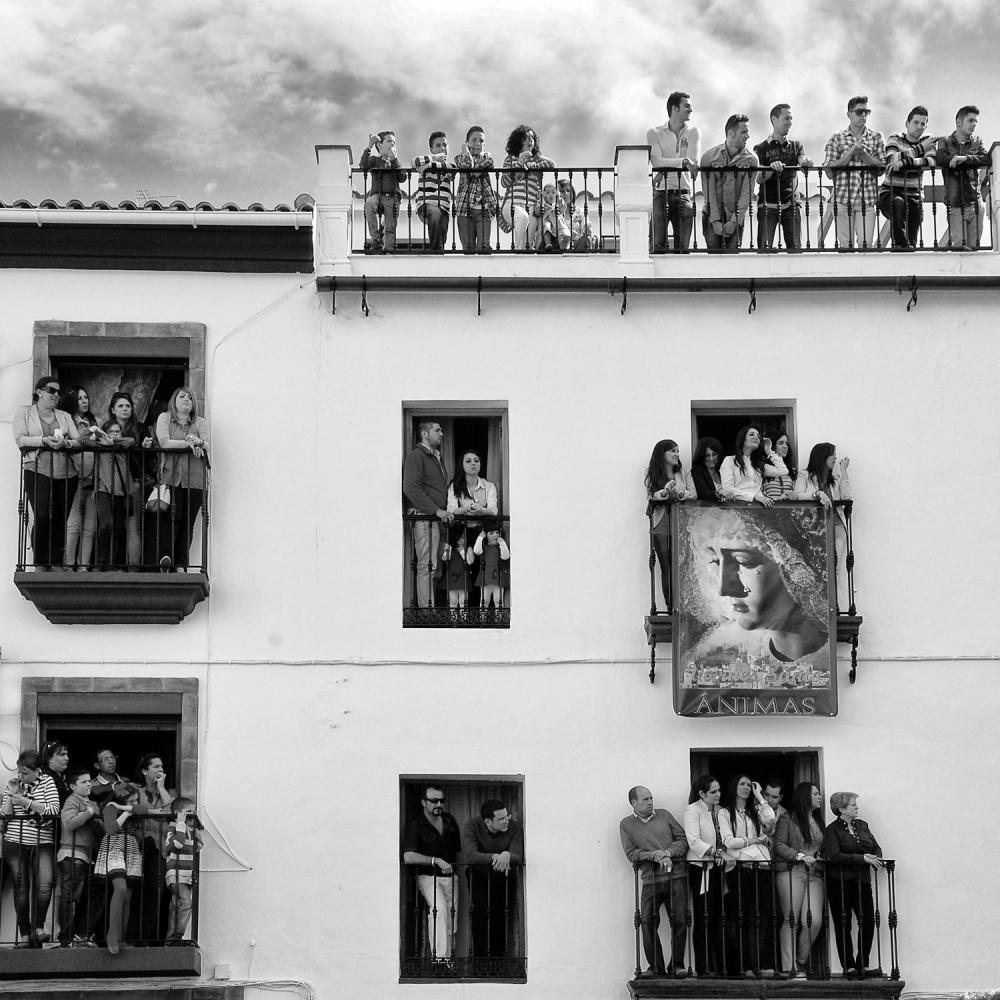 A piece of fine art art photography titled Balcony Meetings by Jacqueline van Bijnen