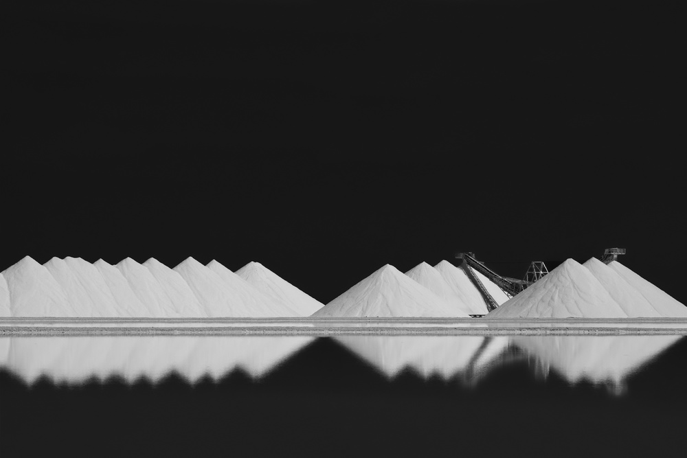 A piece of fine art art photography titled Salt Production BW by Rolf Endermann