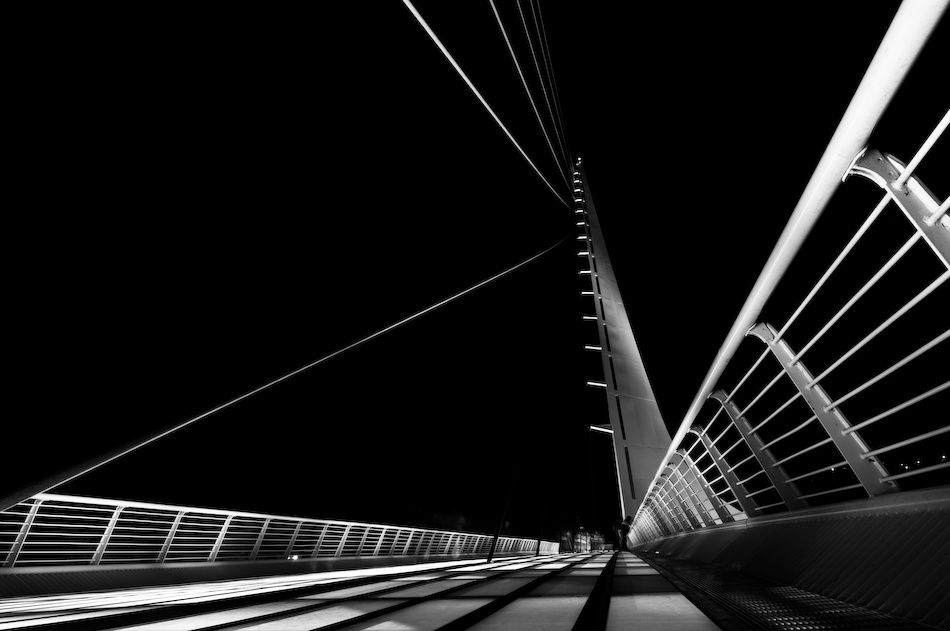 A piece of fine art art photography titled Sundial Bridge Night by Jerry Berry