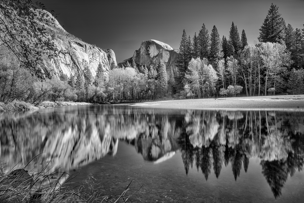 Half Dome reflected on Merced River