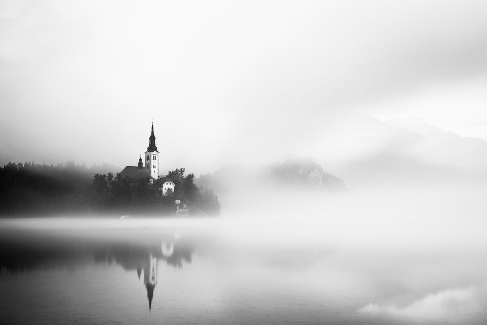 A piece of fine art art photography titled Sunrise at Lake Bled by Lubos Balazovic