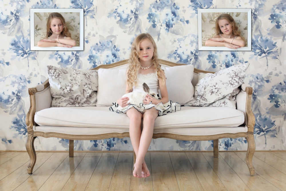 A piece of fine art art photography titled 3 Little Girls and a White Rabbit by Victoria Ivanova