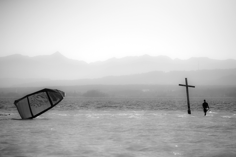 A piece of fine art art photography titled Cross Stops Kite by Tom Bauer
