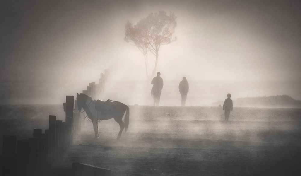 A piece of fine art art photography titled Morning Walk In Heavy Fog by Kok Tien Sang