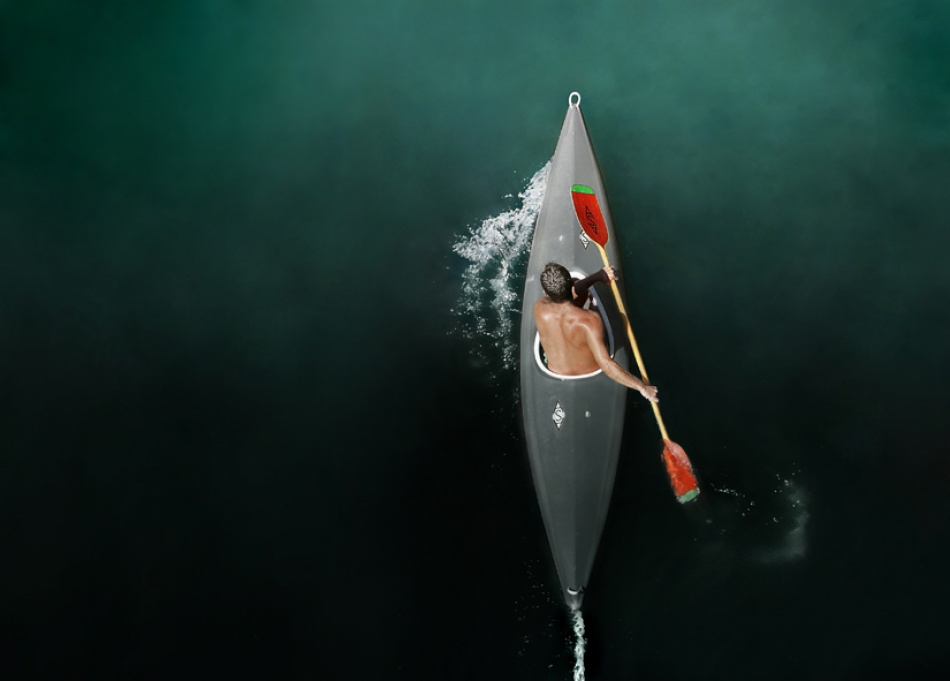 A piece of fine art art photography titled Kayaker by Vladimir Off Zivancevic - krug