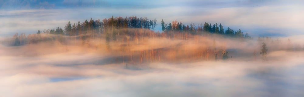 A piece of fine art art photography titled In the Morning Mists by Piotr Krol (Bax)