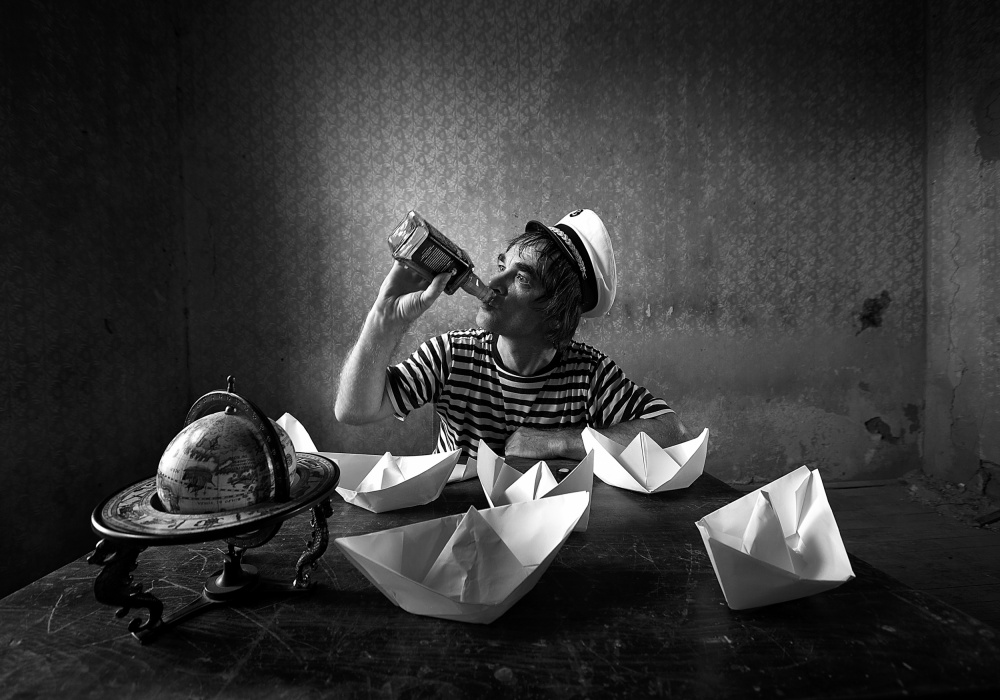 A piece of fine art art photography titled Wannabe Sailor by mario grobenski - psychodaddy