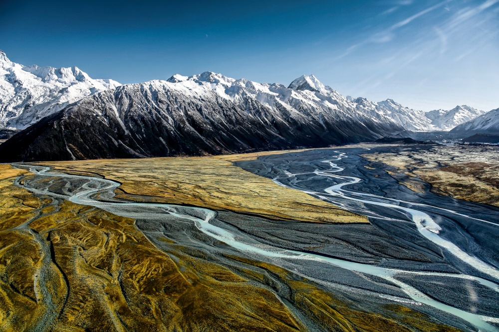 A piece of fine art art photography titled Mont Cook Range and Hooker Valley by Tristan Shu