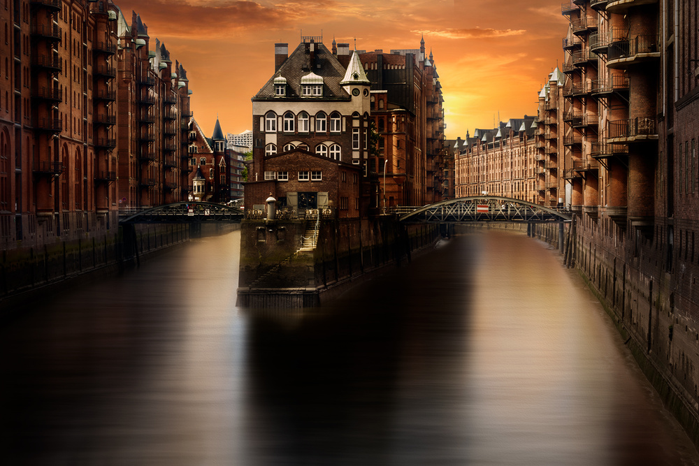 View this piece of fine art photography titled Hamburg City of Warehouses (Speichersatdt) by George Nevrela