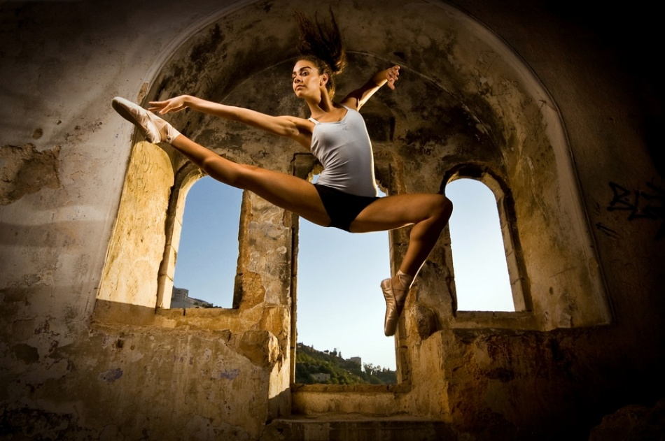 A piece of fine art art photography titled Jumping Yuval Flash by Tomer Jacobson